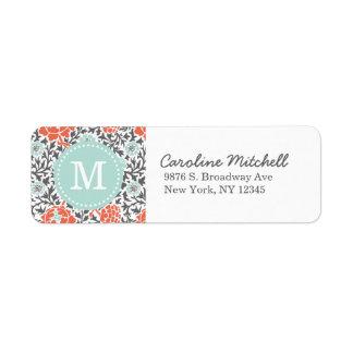 Gray and Mint Retro Floral Damask Custom Monogram Return Address Label