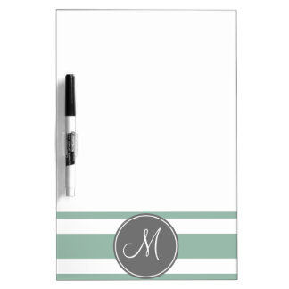 Gray and Mint Striped Pattern with Monogram Dry Erase Board