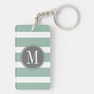Gray and Mint Striped Pattern with Monogram Keychain