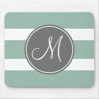 Gray and Mint Striped Pattern with Monogram Mouse Pad