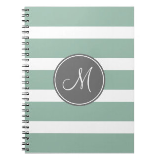 Gray and Mint Striped Pattern with Monogram Note Books