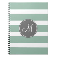 Gray and Mint Striped Pattern with Monogram Journals