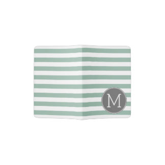 Gray and Mint Striped Pattern with Monogram Passport Holder