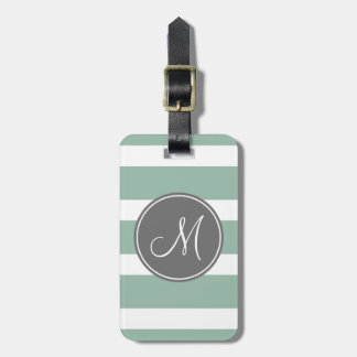 Gray and Mint Striped Pattern with Monogram Tag For Bags