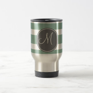 Gray and Mint Striped Pattern with Monogram Travel Mug