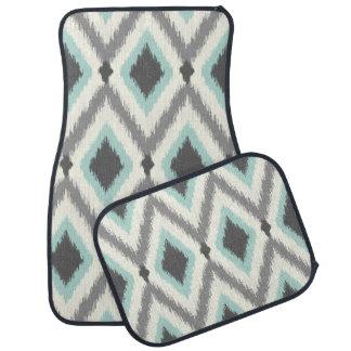 Gray and Mint Tribal Ikat Chevron Car Floor Mat
