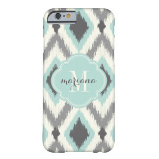 Gray and Mint Tribal Ikat Chevron Monogram Barely There iPhone 6 Case