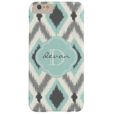 Aztec Themed Gray and Mint Tribal Ikat Chevron Monogram Barely There iPhone 6 Plus Case