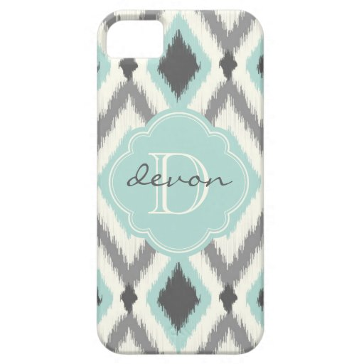 Gray and Mint Tribal Ikat Chevron Monogram iPhone 5/5S Covers