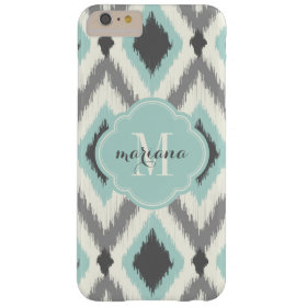 Gray and Mint Tribal Ikat Chevron Monogram Barely There iPhone 6 Plus Case