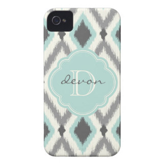 Gray and Mint Tribal Ikat Chevron Monogram iPhone 4 Case-Mate Case