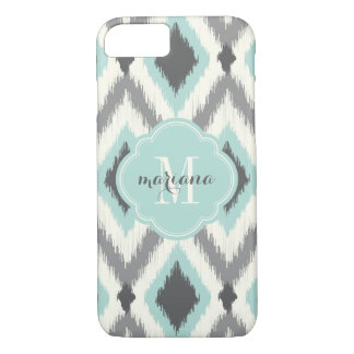 Gray and Mint Tribal Ikat Chevron Monogram iPhone 7 Case