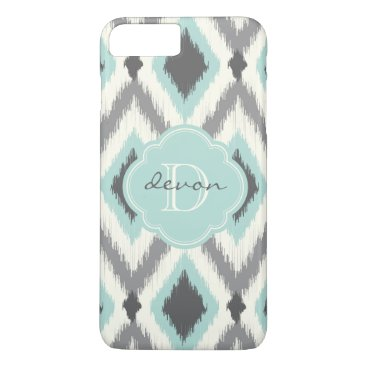 Aztec Themed Gray and Mint Tribal Ikat Chevron Monogram iPhone 8 Plus/7 Plus Case