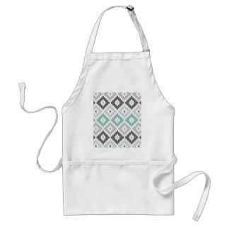 Gray and Mint Tribal Print Ikat Diamond Pattern Adult Apron