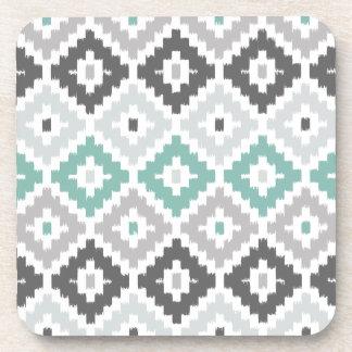 Gray and Mint Tribal Print Ikat Diamond Pattern Beverage Coaster
