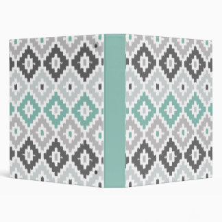 Gray and Mint Tribal Print Ikat Diamond Pattern Binder