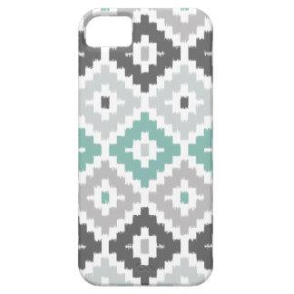 Gray and Mint Tribal Print Ikat Diamond Pattern iPhone 5 Cases