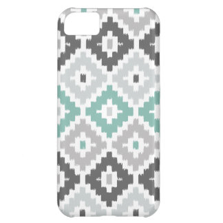 Gray and Mint Tribal Print Ikat Diamond Pattern Case For iPhone 5C