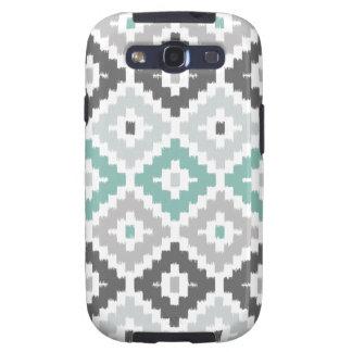 Gray and Mint Tribal Print Ikat Diamond Pattern Galaxy SIII Cover