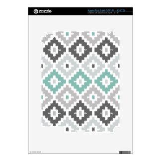 Gray and Mint Tribal Print Ikat Diamond Pattern iPad 3 Decals