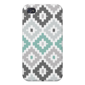 Gray and Mint Tribal Print Ikat Diamond Pattern Cases For iPhone 4