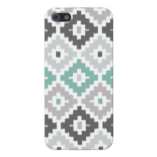 Gray and Mint Tribal Print Ikat Diamond Pattern Cases For iPhone 5