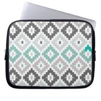 Gray and Mint Tribal Print Ikat Diamond Pattern Laptop Sleeve