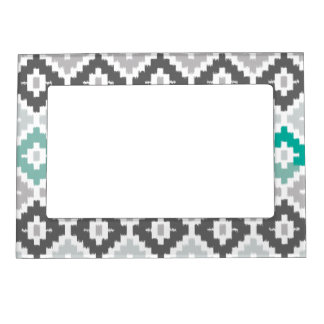 Gray and Mint Tribal Print Ikat Diamond Pattern Picture Frame Magnet