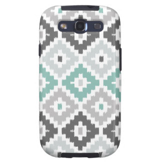 Gray and Mint Tribal Print Ikat Diamond Pattern Samsung Galaxy SIII Cover