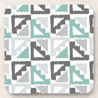 Gray and Mint Tribal Print Ikat Triangle Pattern Beverage Coaster