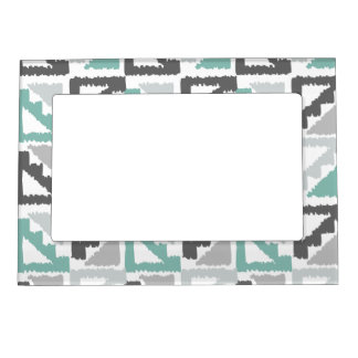 Gray and Mint Tribal Print Ikat Triangle Pattern Magnetic Picture Frame