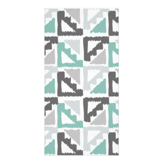 Gray and Mint Tribal Print Ikat Triangle Pattern Photo Greeting Card