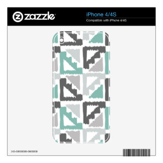 Gray and Mint Tribal Print Ikat Triangle Pattern Skin For The iPhone 4S