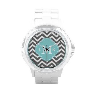 Gray and Mint Zigzags Monogram Wrist Watch