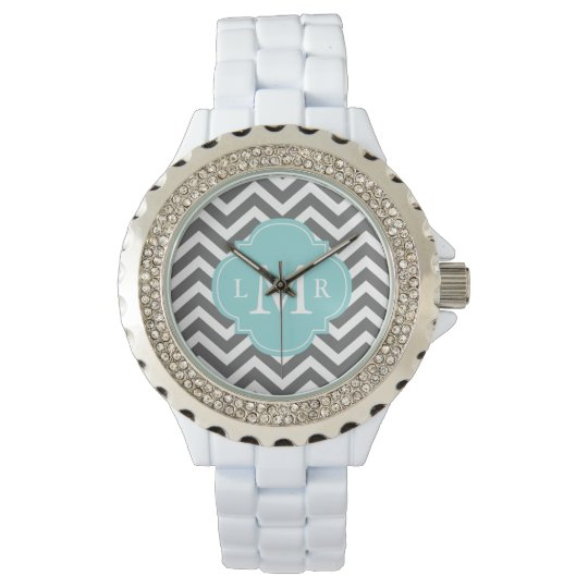 Gray and Mint Zigzags Monogram Wrist Watch