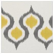 Gray and Mustard Ikat Tribal Pattern Fabric