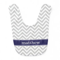 Gray and Navy Blue Chevron Monogram Bib