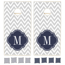Gray and Navy Blue Chevron Monogram Cornhole Sets