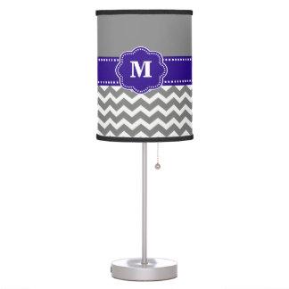 Gray and Navy Blue Chevron Monogram Lamp Shade