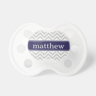 Gray and Navy Blue Chevron Monogram Pacifier