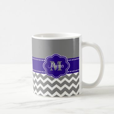 Coffee Themed Gray and Navy Blue Chevron Personalized Mug