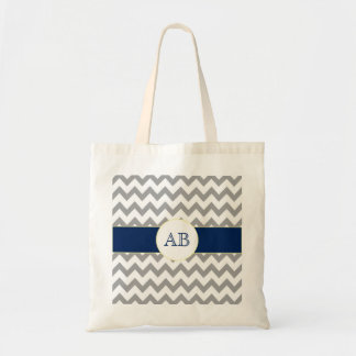 Gray and Navy Blue Chevron Striped Monogram Bag