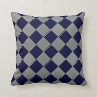 Gray and Navy Blue Diamond Decorative Pillow