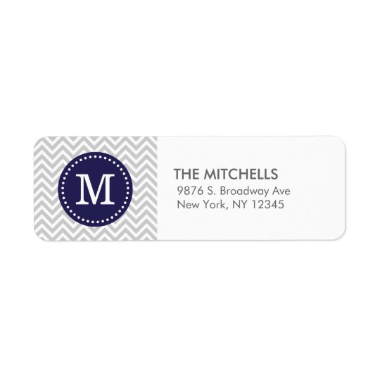 Gray and Navy Blue Modern Chevron Custom Monogram Label