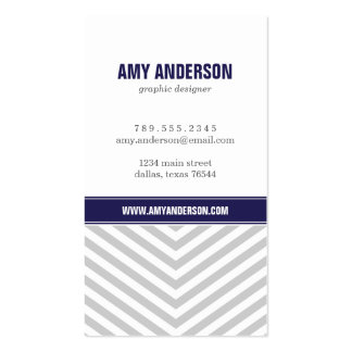 Gray and Navy Blue Modern Chevron Stripes Double-Sided Standard Business Cards (Pack Of 100)