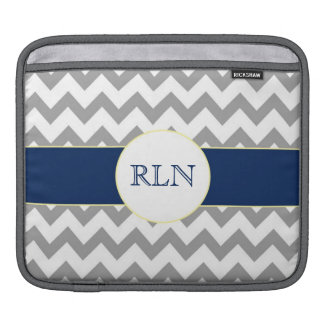 Gray and Navy Chevron Striped Monogram iPad Sleeve