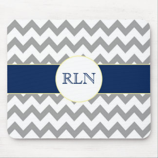 Gray and Navy Chevron Striped Monogram Mousepad