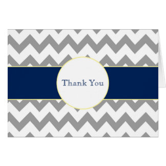 Gray and Navy Chevron Striped Monogram Thank You Stationery Note Card