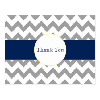 Gray and Navy Chevron Striped Thank You Postcard