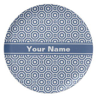 Gray and Navy Nested Octagon Melamine Plate